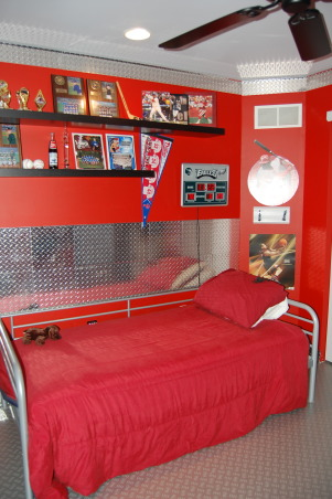 Little man cave, Sports theme with garage accents, Boys' Rooms Design
