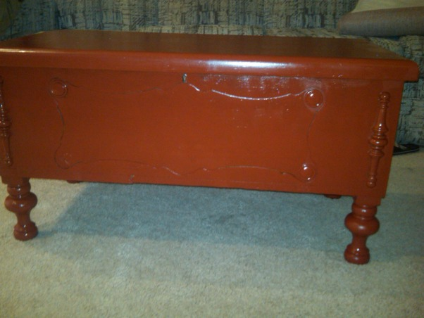 """Old Cedar Chest gets a new life!, Old Cedar chest collecting dust in the basement.  I needed a new coffee table for our game room.  I have another red painted cabinet, but needed more storage!  I sanded the old cedar chest and then painted it """"fireweed"""" from Sherwin Williams.  Perfect addition!, NEW cedar chest painted """"fireweed"""" red from Sherwin Williams.  Great addition to the game room., Living Rooms Design"""