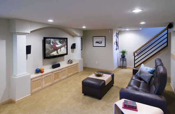 1955 Rambler Basement Remodel, We completely gutted our 1955s rambler basement.  It was a challenge dealing with low ceilings/ductwork, but we are very pleased with the results.  , Basements Design