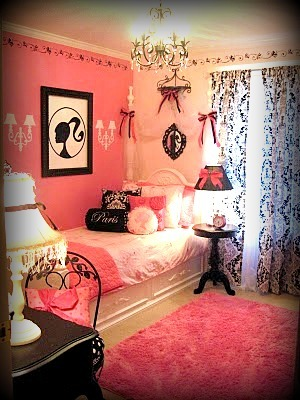 ~Parisian Vintage Barbie Girls Room~, Inspired by my daughters love of Barbie and her dream of visiting Paris. We used a color palette of black, white, bright and soft pinks. The goal was to create a glamorous, yet functional space, fit for a five year old princess to grow with. , Girls' Rooms Design