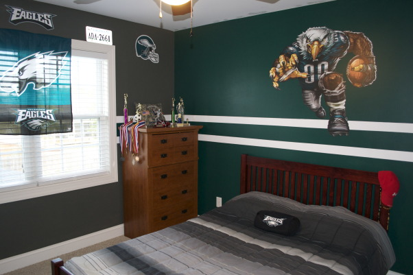 PHI Eagles Theme, My 16yo son and I had a fun 2 1/2 days taping and painting.  We used the exact NFL Team colors from Lowe's and Fathead stickers.  We plan to add floating shelves but haven't found the right size and color that will support the weight of books and trophy's.  Any ideas?, Boys' Rooms Design