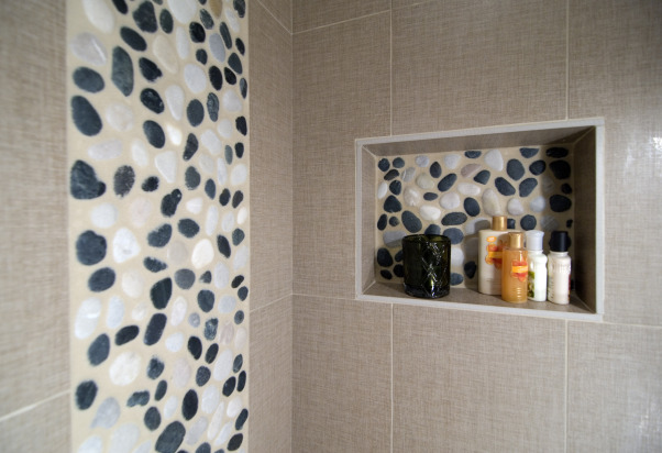 Asian-Inspired River Rock Bathroom Remodel, This is an Asian-inspired bathroom remodel we did using river rocks as part of the tile pattern in the shower and also on the backsplash behind the sink. The stones gave it a really unique look and feel. You can see more photos in the bathrooms gallery on our website at http://www.summitdesignremodeling.com ! :), Bathrooms Design