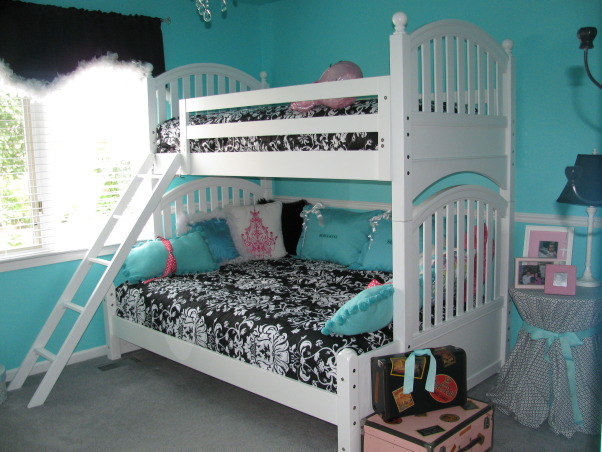 Girls Room - Tiffany Inspired, Tiffany Inspired Girl's Room; Black & White and Teal Very girly!, Our room is very small so we were forced to do bunks.  These are from Young America; a Full on the bottom and the twin on top!  The girls love having the option of sleeping together or apart! PAINT:  Sherwin Williams - Tantilzing Teal   , Girls' Rooms Design