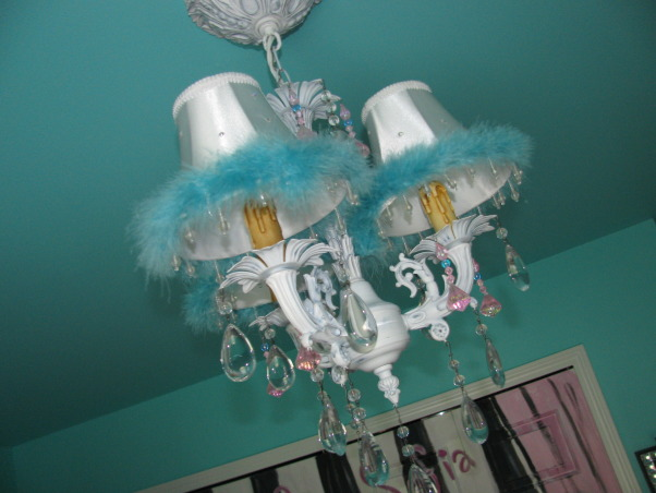 Girls Room - Tiffany Inspired, Tiffany Inspired Girl's Room; Black & White and Teal Very girly!, Chandelier is from LampsPlus.com.  Found the lamp shades at The Christmas Tree shop for $2.  Glued on some Swarovski rinestones and added the maribu fur.   , Girls' Rooms Design