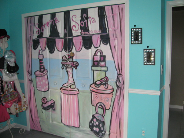 Girls Room - Tiffany Inspired, Tiffany Inspired Girl's Room; Black & White and Teal Very girly!, Love our closet doors....made to look like a boutique!     , Girls' Rooms Design