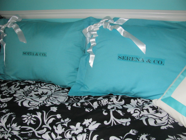 Girls Room - Tiffany Inspired, Tiffany Inspired Girl's Room; Black & White and Teal Very girly!, These are my favorite!  Used Iron Ons to add the girls name to the SHAMs!  Hot glued the white ribbon to make it look like a Tiffany Gift!    , Girls' Rooms Design