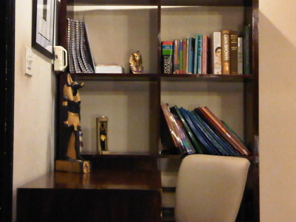 hotel style chic retreat, custom made study table & book shelves.            , Bedrooms