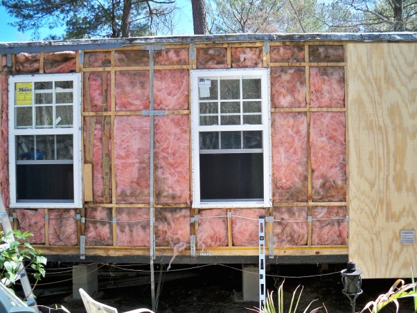Mobile home exterior remodel, Install  siding and underpinning, ready for siding , Home Exterior Design