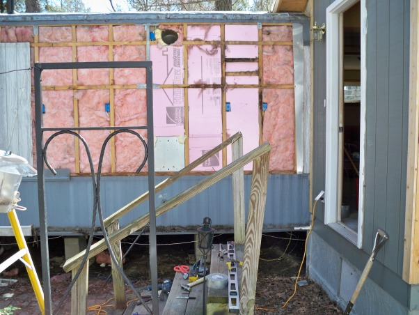 Mobile home exterior remodel, Install  siding and underpinning, removing old metal , Home Exterior Design
