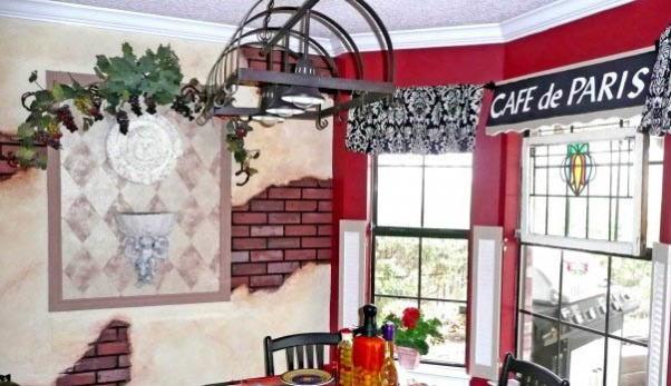Funky mural to a boring cookie cutter kitchen kitchens design
