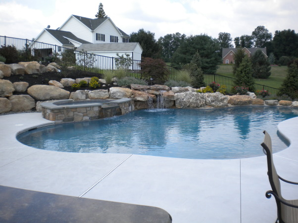 Our Backyard Oasis, Beautiful inground swimming pool with elevated hot tub, waterfall and an outdoor kitchen., Pools Design
