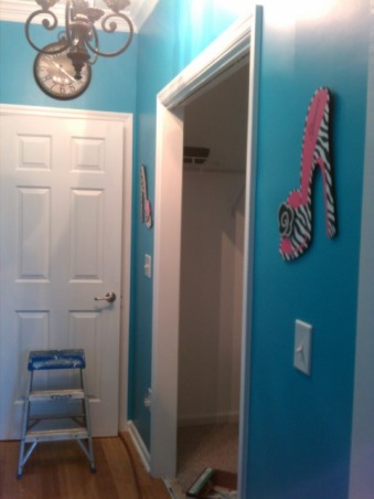 Classic Zebra, Teal and Black Zebra print teen room. Teenage girls need a place to relax and call their own. Make-up Vanity, chalkboard wall, white furniture, desk, She has her own hallway with a touch of pink, a Black Chandelier and Walk-in-Closet. You could do damask in place of the Zebra theme. , The hallway after the door was moved and walls were painted. , Girls' Rooms Design