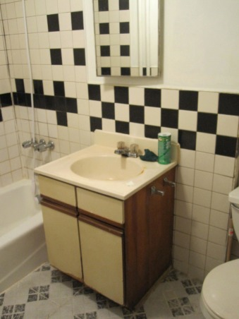 Apartment bathroom makeover!, This was my gross bathroom. Black and beige tiles interspersed with white replacement tiles here and there, barely-primed sheet rock with no top coat, and an extremely outdated and ugly vanity and medicine cabinet. When were those things ever desirable?? The shower curtain and shower head were both wedding gifts, so I decided to put them in a bathroom worthy of their quality and beauty!   This makeover cost less than $200, and most of that cost was the mirror ($125 from a local thrift shop). I sanded, primed and painted the tiles with indoor/outdoor heavy duty mold and mildew resistant paint. , Bathrooms Design