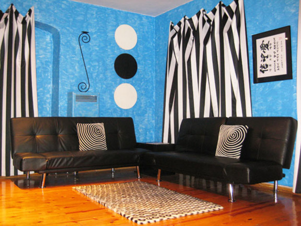 Modern Blue in Black and White, Before and after my living room space makeover. I wanted something Bold and Extreme! Everything in black and white only! No color except the tropic blue textured walls. I intended the room to look surreal and fantasy-like. Enjoy!, After pic of room. Northwest view      , Living Rooms Design