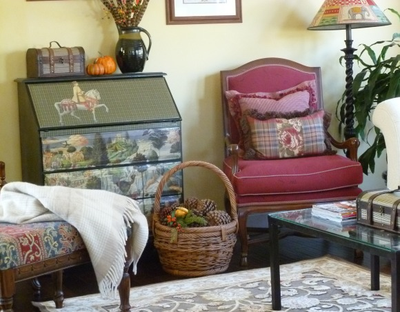 Autumn Living Room, It is time for fall!  I have changed out the living room decor for autumn.  Enjoy!, An old secretary that I found on Craigslist and spruced up with some paint and decoupage.          , Living Rooms Design