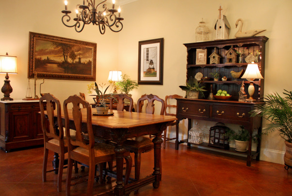 Classic Kitchen, Classic Traditional Kitchen and Breakfast Area, Breakfast Area featuring French Desk dining table, Welsh Dresser, and Game Table in left corner, Kitchens Design