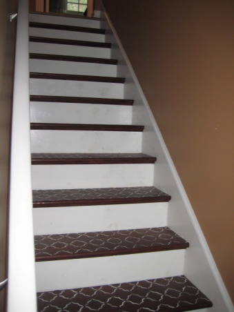 Cottage Staircase Redo!, Making something out of nothing (or very little at least!)  For more info & projects check out: http://casa-babbette.blogspot.com/, Added custom stenciling, Other Spaces Design