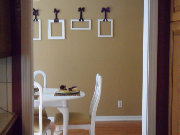 Yellow and Purple Dining Room, Neutral room with yellow and purple accents. White furniture was used as the canvas. , Dining Rooms Design