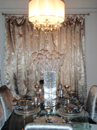 Cozy Bling Room, My living room and dining room are joined together in a tight space.  I wanted to add the most flare I could in a small space. I wanted it to be clean, classy and have a touch of glamour. It was a lot of fun to do and I really tried staying on a budget with the accessories and furniture.  I have a very small, modest home and I know I can't compete with some of these amazing, large, and very well furnished homes but I appreciate any feedback on this room.  Thank you. , Living Rooms Design