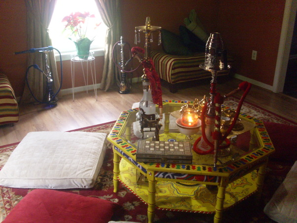 Hookah Lounge, Welcome to my Favorite room in my house,this room is very colorful featuring a Beautiful Egyptian canopy that covers all the ceiling,large floor pillows,persian rug,egyptian lanterns,my collection of hookahs,gold tone tea set,candles,middle eastern tapestry,gold draperies,colorful coffe table with hand painted designs,this room is relaxing., Media Rooms Design