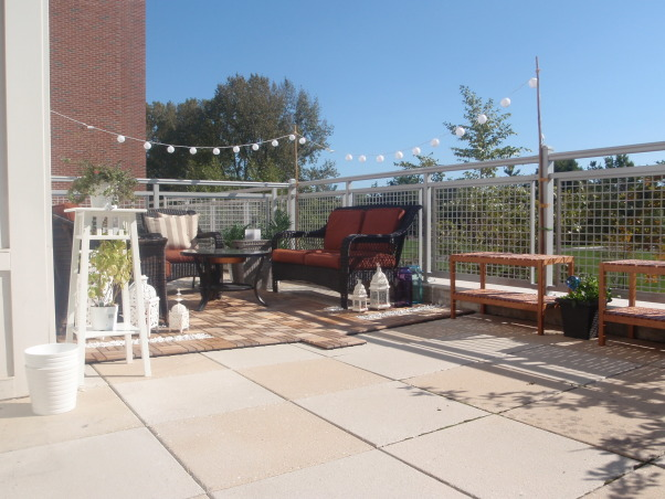 Rental Apartment Patio Makeover, I did non-permanent changes to transform the sparse concrete expanse into hopefully a space that friends can gather for conversations. It's a rental unit so everything I can take with me when I leave, down to the deck tiles :), Rain gone, lights up, Patios & Decks Design