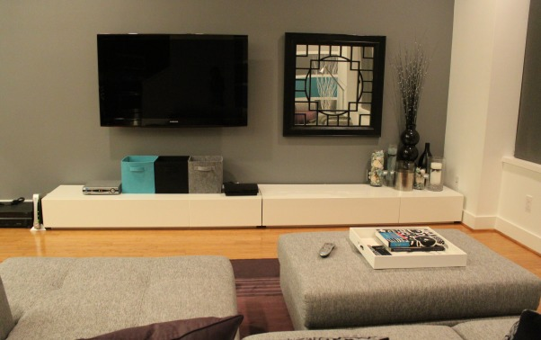 Modern living, Here are pictures of my first place.  It's a townhouse with an open living and dining room area.  I love pairing gray with other colors. Here, I've used purple, white and gray. Please let me know what you think!, Updated October 2011, Living Rooms Design