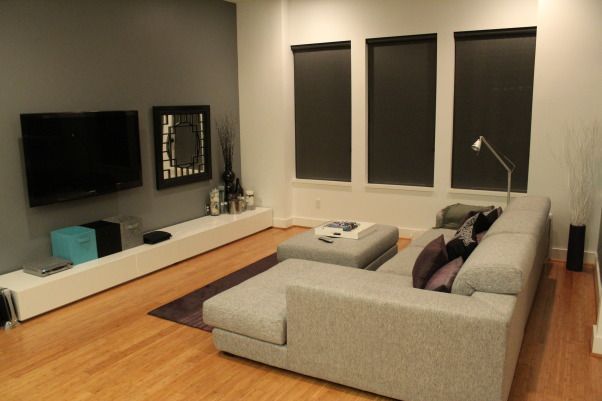Modern living, Here are pictures of my first place.  It's a townhouse with an open living and dining room area.  I love pairing gray with other colors. Here, I've used purple, white and gray. Please let me know what you think!, Living Rooms Design
