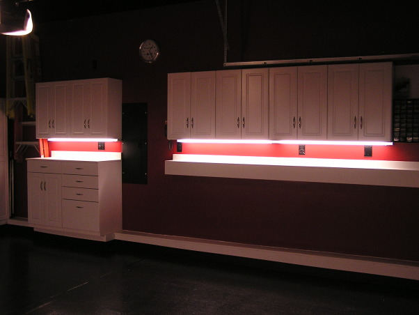 Is that a Garage or a Corvette Shop?, Florescent 2-Bulb T-8 is the way to go for under cabinet lighting!  , Garages Design