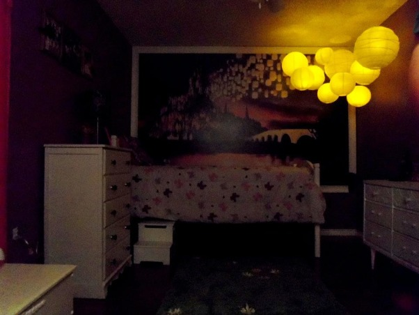 Rapunzel Inspired Bedroom, This is my daughters bedroom. She loves the Disney movie Tangled so that was my inspiration. We gutted her room and started fresh with an empty box., The lanterns have those LED tea light candles in them. , Girls' Rooms Design