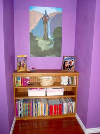 Rapunzel Inspired Bedroom, This is my daughters bedroom. She loves the Disney movie Tangled so that was my inspiration. We gutted her room and started fresh with an empty box., This was the closet but it made the perfect nook for her bookshelf. My friend painted the picture and we installed track lighting with a dimmer right above it., Girls' Rooms Design