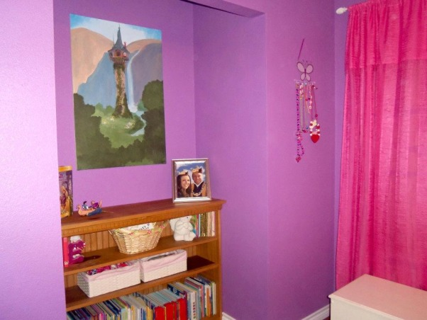 Rapunzel Inspired Bedroom, This is my daughters bedroom. She loves the Disney movie Tangled so that was my inspiration. We gutted her room and started fresh with an empty box., Girls' Rooms Design