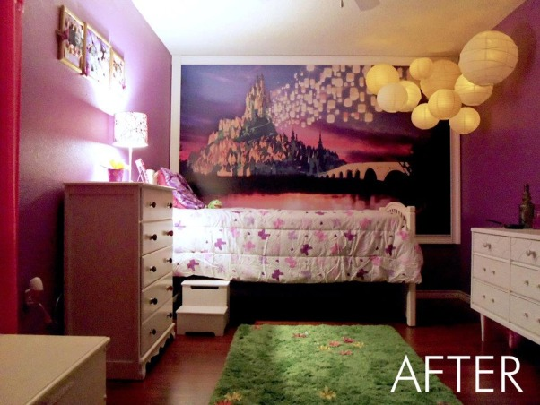 Rapunzel Inspired Bedroom, This is my daughters bedroom. She loves the Disney movie Tangled so that was my inspiration. We gutted her room and started fresh with an empty box., The wall mural was designed by my friend who is a graphic designer. We installed wood flooring and painted the walls purple., Girls' Rooms Design