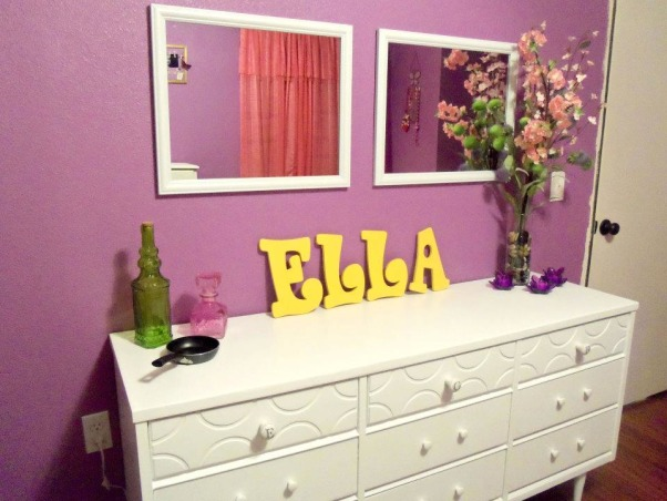 Rapunzel Inspired Bedroom, This is my daughters bedroom. She loves the Disney movie Tangled so that was my inspiration. We gutted her room and started fresh with an empty box., An old dresser we already had. Just painted it and got new knobs. Most accessories were purchased 50% off at Hobby Lobby., Girls' Rooms Design