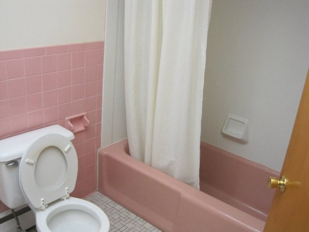 pink  bathroom  remodeling, When we moved to our new house, there was a pink bathroom and our house is contemporary. We decided to hire contractors and after a few things in the first 2 days went wrong we finished it ourselves...everything, from installing a bathtub, toilet, electric, tiling, painting, etc, this is before, , Bathrooms Design