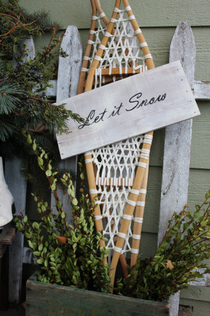 Northwoods Winter Front Porch, This year we wanted a simple, natural looking front porch for winter and the holidays..., snowshoes and a sign I painted... , Holidays Design