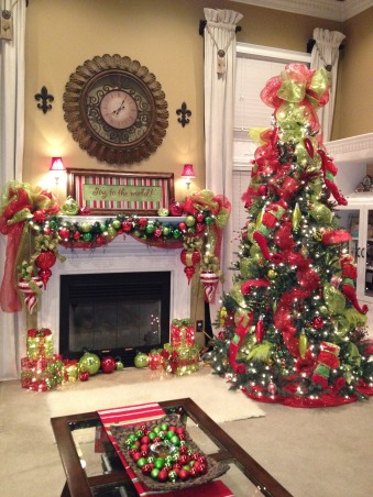 "Mantel.........Check!, I am not going to lie......It took me 2 days to get this together and 4 hot flashes! LOL! Anyway, I am trying to get it ""together"" before the grandbabies get here for Thanksgiving., Tree is up!!! yes! I think I will be available to cook now! whew! , Holidays Design"