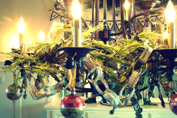 "Christ in the center of our Christmas!, Christmas in the Bungalow ~ incorporating pages of old books and sheet music, vintage shiny brite ornaments, and ""wrapping"" our home in God's word!, Holidays Design"