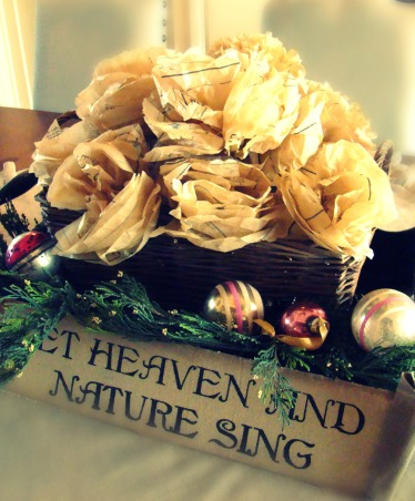 "Christ in the center of our Christmas!, Christmas in the Bungalow ~ incorporating pages of old books and sheet music, vintage shiny brite ornaments, and ""wrapping"" our home in God's word!, A simple boquet of paper flowers made from vintage sewing patterns.   , Holidays Design"