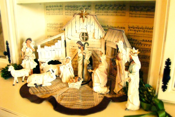 "Christ in the center of our Christmas!, Christmas in the Bungalow ~ incorporating pages of old books and sheet music, vintage shiny brite ornaments, and ""wrapping"" our home in God's word!, The precious nativity from my parents...   , Holidays Design"