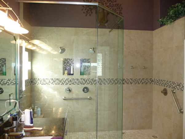 Walk-In Shower, We have a lot of homeowners ask us to transform their old showers into a spacious walk-in shower. this is just one example of such a open shower make-over., This is a great example of what can be done to transform a tired old builder quality shower.   Our homeowner wanted to have a more spa-like bathroom featuring a large walk in shower with multiple water features.  For more bathroom info and photos... http://trilitebuilders.com/bathrooms/ ., Bathrooms Design