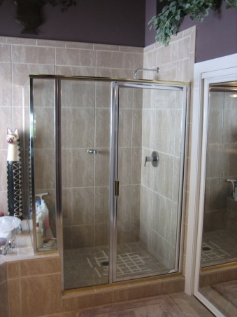 Walk-In Shower, We have a lot of homeowners ask us to transform their old showers into a spacious walk-in shower. this is just one example of such a open shower make-over., This is our before shower. hardly anything to write home about.  For more bathroom info and photos... http://trilitebuilders.com/bathrooms/ ., Bathrooms Design