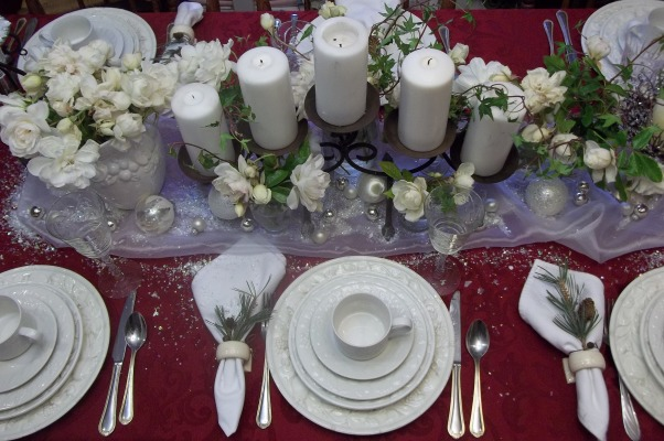 Holiday Tablescapes, Dining room in our farmhouse, HOliday tablescape, white roses, and candles set the mood, Holidays Design