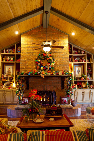 Country French Christmas, Country French Christmas by Show me Decorating, cool turquoise, rich red and gold compliment the season in this beautiful home., Fireplace and mantel, Holidays Design