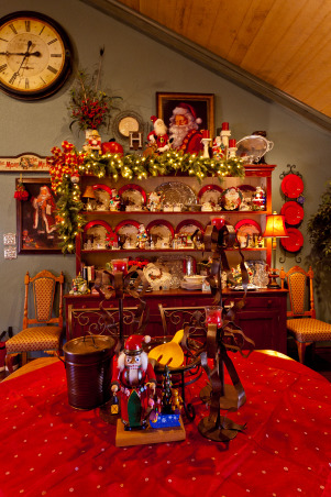 Country French Christmas, Country French Christmas by Show me Decorating, cool turquoise, rich red and gold compliment the season in this beautiful home., Hutch with Christmas dishes, Holidays Design