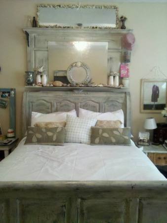 Beach Get Away, Me and my husband love fishing at Tybee Island, so I turned our bedroom into a Suite for Two, I painted my sleigh bed in an antique crackle finish and added an extra head board same tecnique an top it off with shells we pick up at the beach to frame the mirror on top. I built the night stand, and added a broken old window pane with chicken wire and fishing acessories., My bed with added head board that sits on a shelf and sea shell and a framed mirror on top wit sea shells we collected from Tybee Island. The Duvet cover is made by me, two queen size white sheets with buttoms and made pillow shams and pillows., Bedrooms Design
