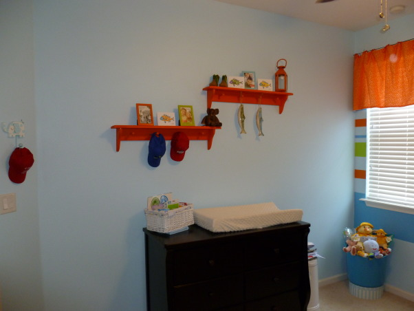 Fishing Nursery, Colorful and fun boy's nursery.   Lots of patterns, and fish. Homemade Guy Harvey t-shirt quilt., Changing Table and shelves, Nurseries Design