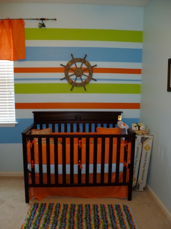 Fishing Nursery, Colorful and fun boy's nursery.   Lots of patterns, and fish. Homemade Guy Harvey t-shirt quilt., Nurseries Design