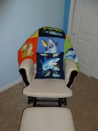 Fishing Nursery, Colorful and fun boy's nursery.   Lots of patterns, and fish. Homemade Guy Harvey t-shirt quilt., Homemade Guy Harvey T-Shirt quilt, Nurseries Design