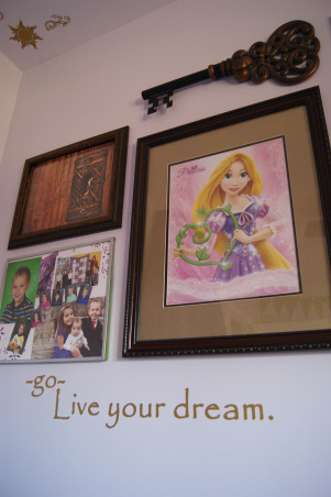 "All Tangled Up with Rapunzel, Here's our daughter's (5 years old) Rapunzel room - she's infatuated with the Princess from Disney's Tangled... Her room got new carpet, new trim, new door and closet doors, new door hardware, new curtains and hardware, new ceiling fan, new outlets and covers (althought the house is ten years old, we HATED the dated almond outlets and covers) - now even the light switch sets the fan speed and dims the light - no cords to pull, an ""art wall,"" hand-me-down-but-totally-chic furniture, a canopy over her bed, gold wall vinyls, artwork, a Rapunzel pendant, a ""frying pan"" (if you've seen the movie Tangled, you'd get it), a ""Wanted: Flyn Rider poster,"" and a couple of other items will finish it out, but we're like 99% done. At least, for the next to years until she wants to change it...  , Girls' Rooms Design"