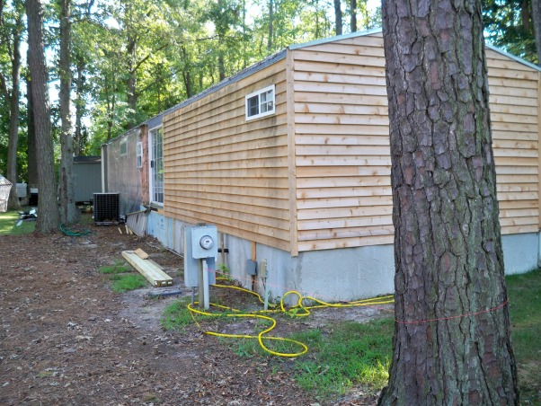 Mobile home exterior remodel, Install  siding and underpinning, Home Exterior Design